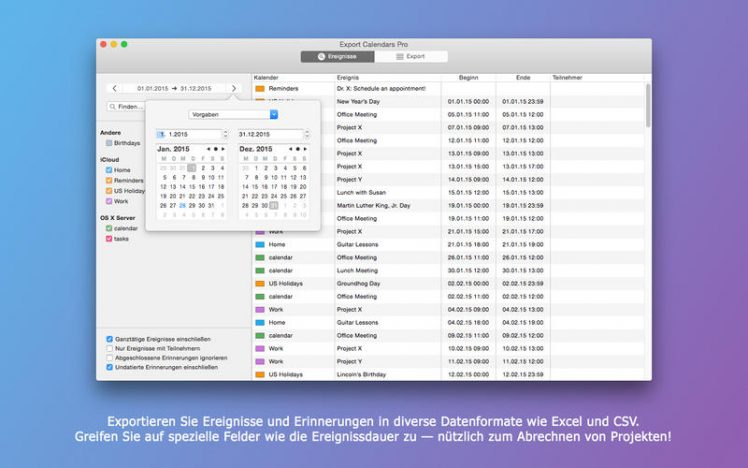 Export Calendars Pro Screen