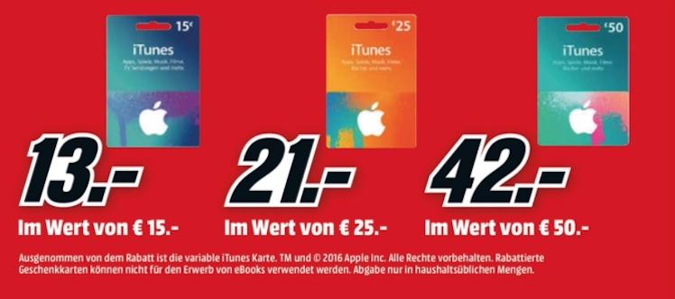 Mediamarkt iTunes-Karten bis 17.5.2016