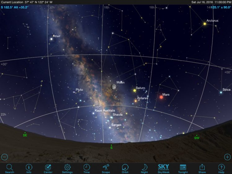 SkySafari 5 Pro Screen