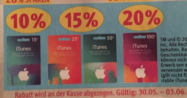 iTunes-Karten Rossmann ab 30.05.2016