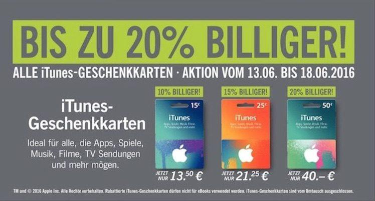 Lidl 13.6. iTunes-Karten guenstiger