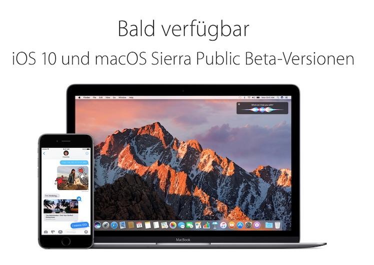 Public Beta iOS 10 macOS Sierra