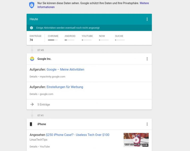 Google Meine Aktivitaeten My Activity