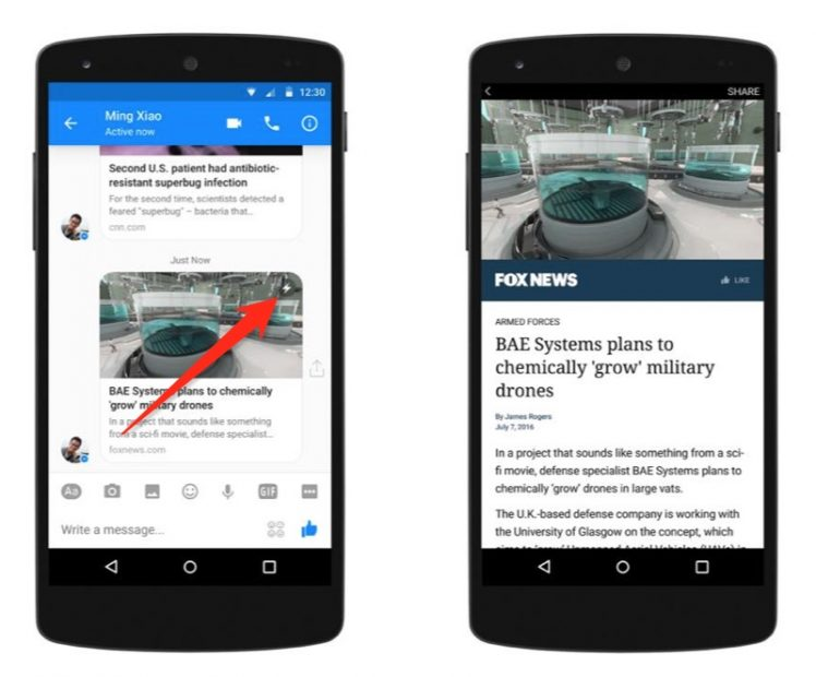 Messenger Blitz Button Instant Articles
