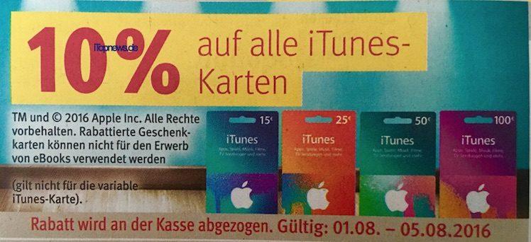 Rossmann ab 1.8.2016 iTunes-Karten