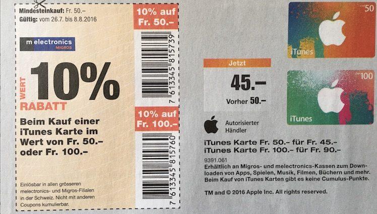 Schweiz Migros 26.7. bis 8.8.2016 iTunes-Karten