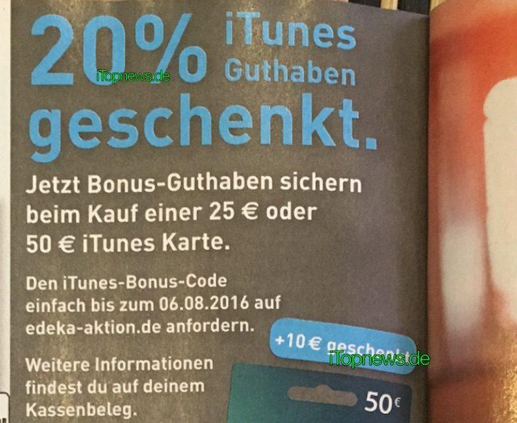 iTunes-Karte Rabatt Edeka Marktkauf ab 18.7.2016