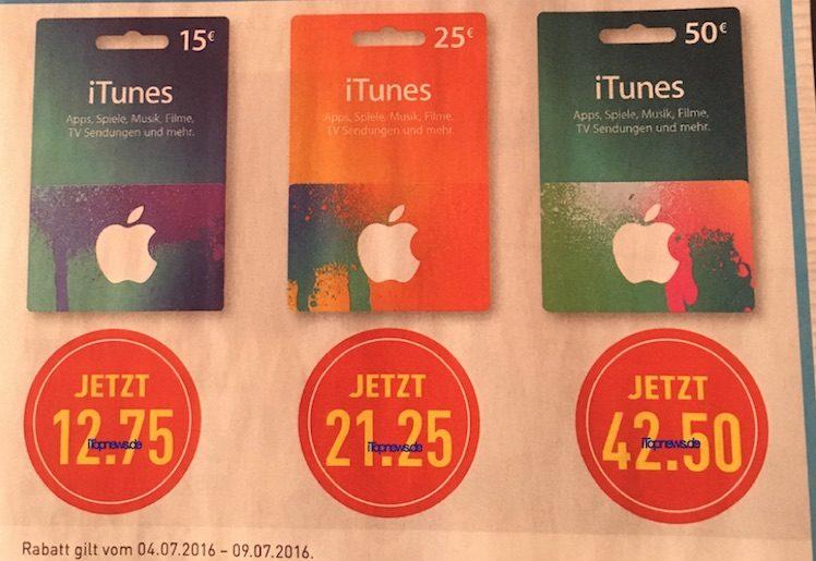 iTunes-Karten Marktkauf 4. bis 9.7.2016