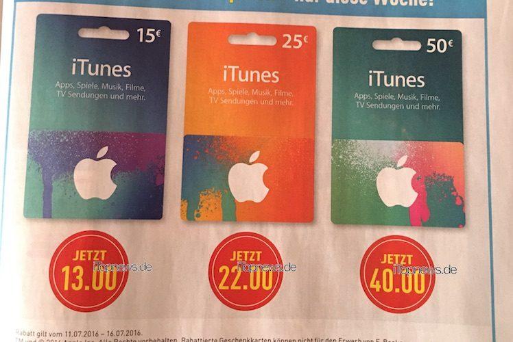 iTunes Karten ab 11.7.2016 iTopnews