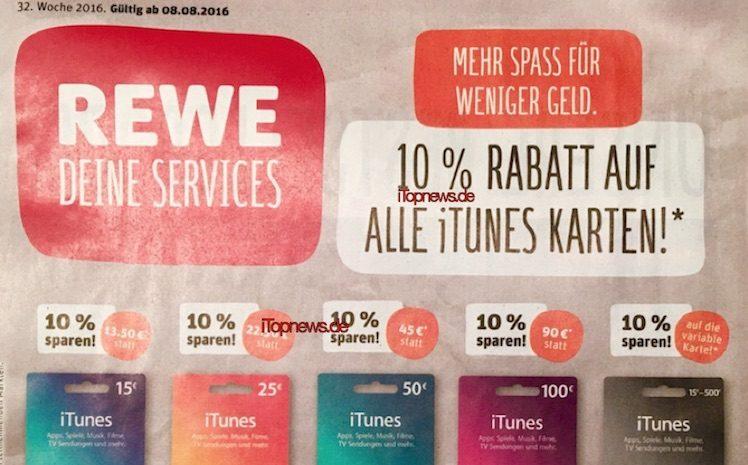 Rewe iTunes-Karten 8.8.2016