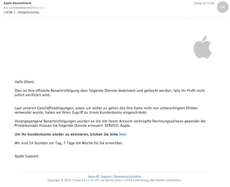 Spam Mail Apple
