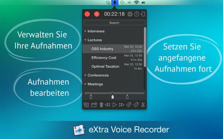 eXtra Voice Recorder Screen