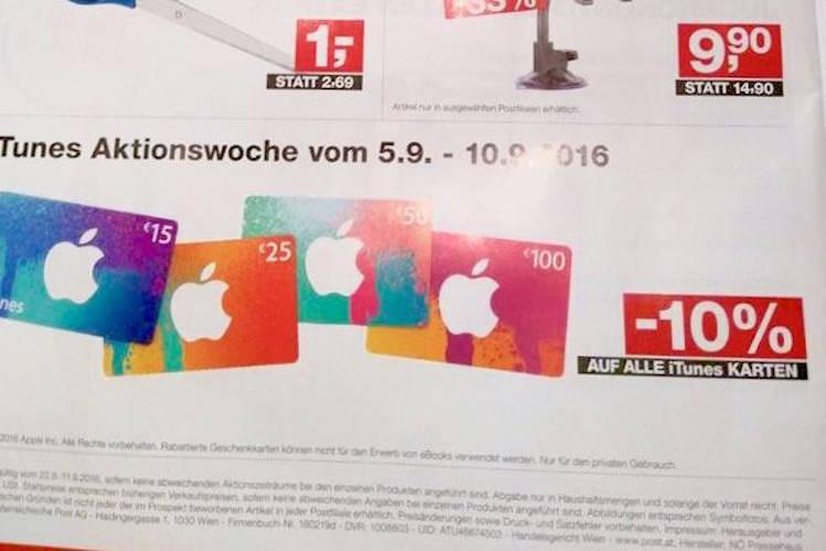 iTunes Karte Oesterreich 5.9.2016
