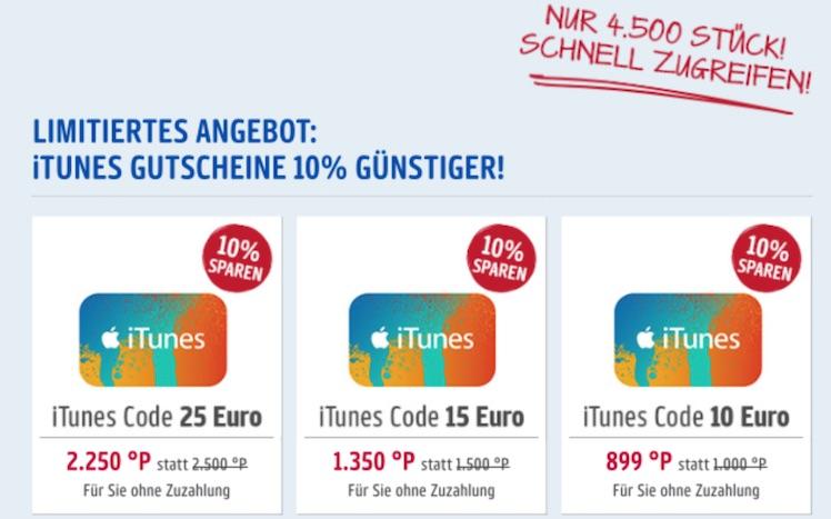 iTunes-Karten Rabatt Payback 30.8.