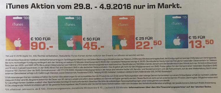 iTunes Karten Saturn bis 4.9.2016
