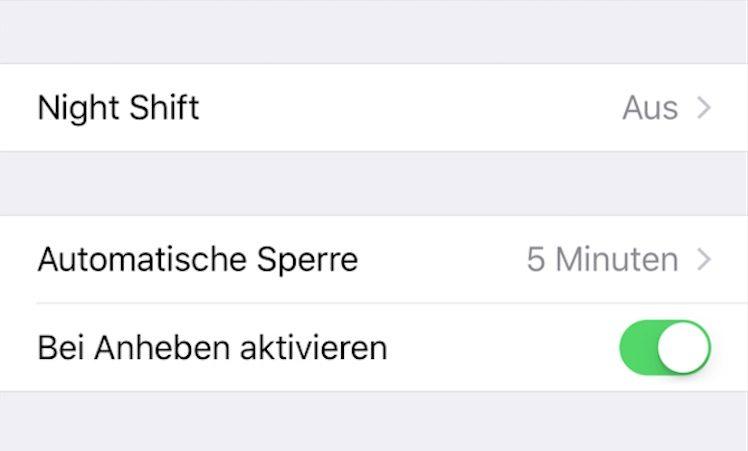 Bildschirmaktivierung iOS 10