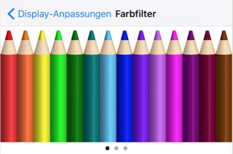 Farbfilter Einstellungen gelber Screen iPhone 7