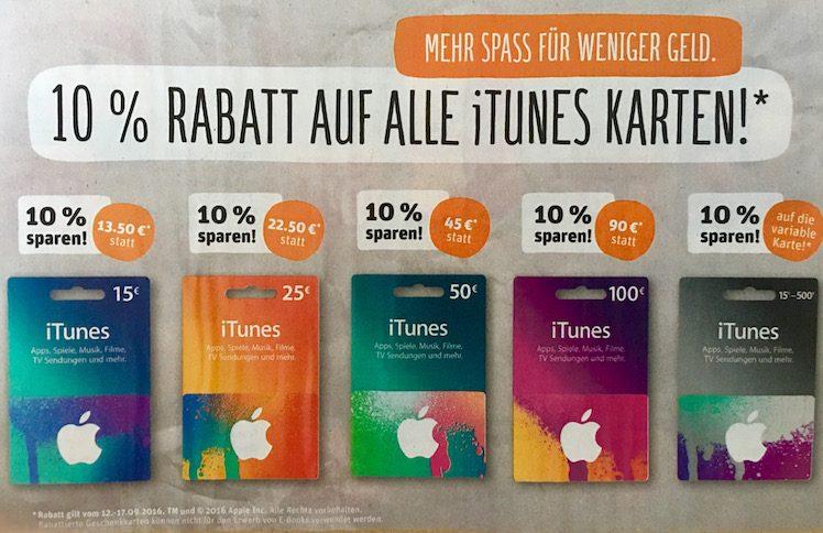 Rewe iTunes-Karten-Rabatt ab 12.9.2016
