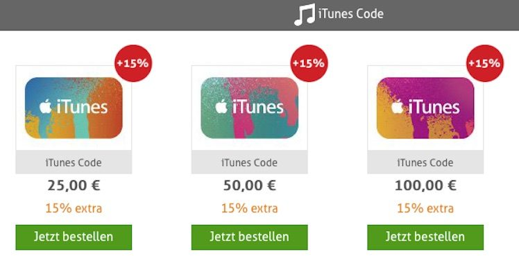 itunes karten g nstiger neues angebot mit 15 prozent bonus itopnews. Black Bedroom Furniture Sets. Home Design Ideas