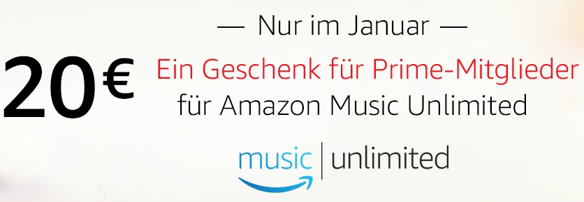 Amazon Music Unlimited 30 Tage Gratis Plus 20 Euro