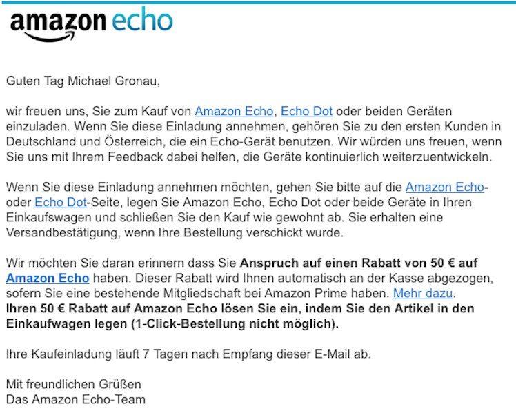 amazon echo: auslieferung im großen stil startet in deutschland, Einladung