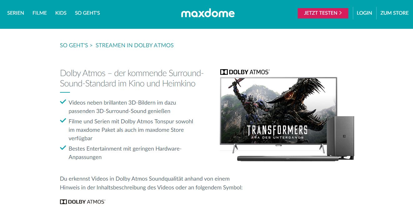 Maxdome streamt in Dolby Atmos