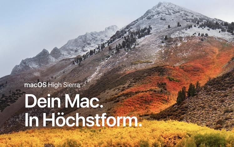 MacOS High Sierra: neues für Speicher, Video und Grafik