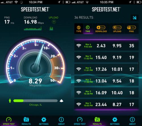 speedtest.net screen