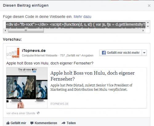 Facebook einbetten 2