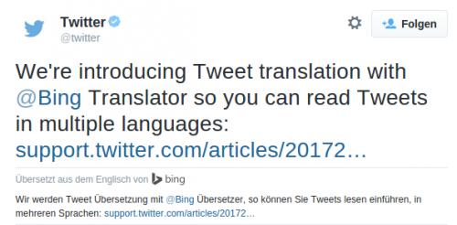 Twitter Teweet Uebersetzung Bing