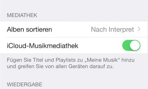 iCloud Musikbibliothek