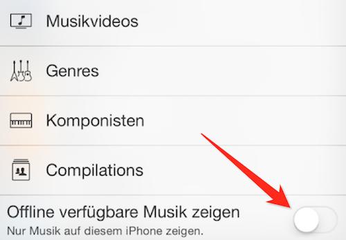 Apple Music offlline aktivieren