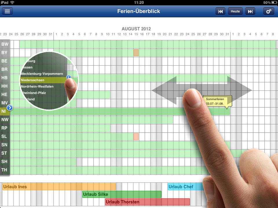 Ferien Kalender Screen