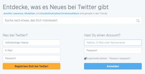 Twitter Registrierung neue Startseite