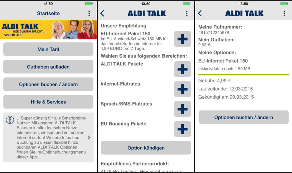 Aldi Talk Screen