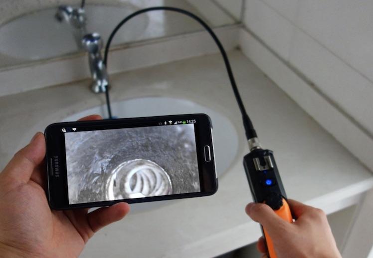 endoskop iphone abdeckung ablauf dusche. Black Bedroom Furniture Sets. Home Design Ideas