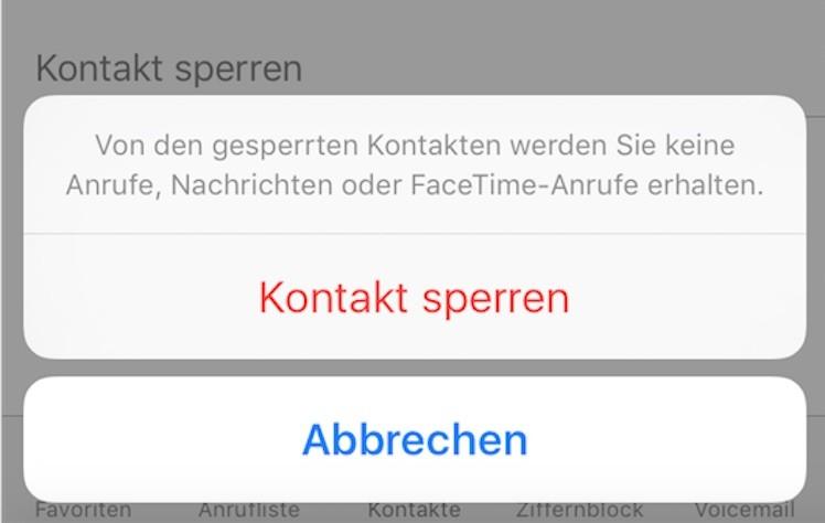 Kontakt sperren iOS iPhone