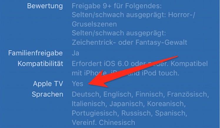 Apple TV App Kennzeichnung
