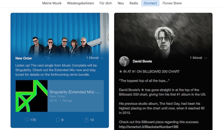 Apple Music Connect Ansicht
