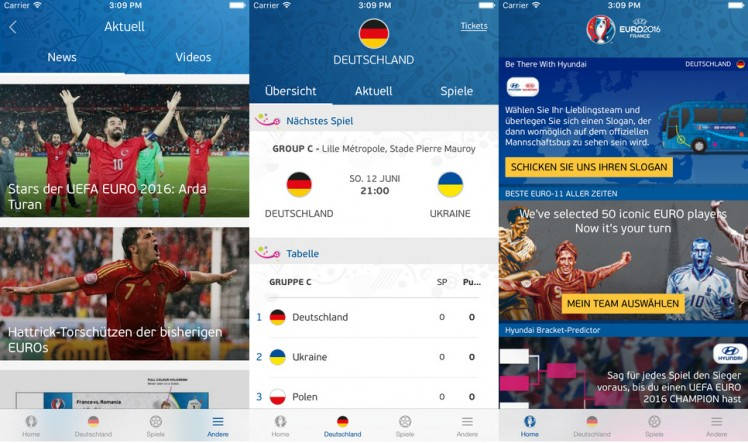 UEFA EURO 2016 Official App Screen