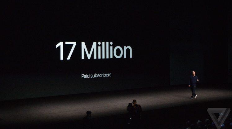 Apple Music 17 Millionen