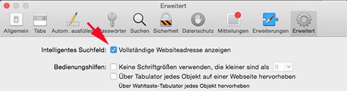 Safari-Webadresse